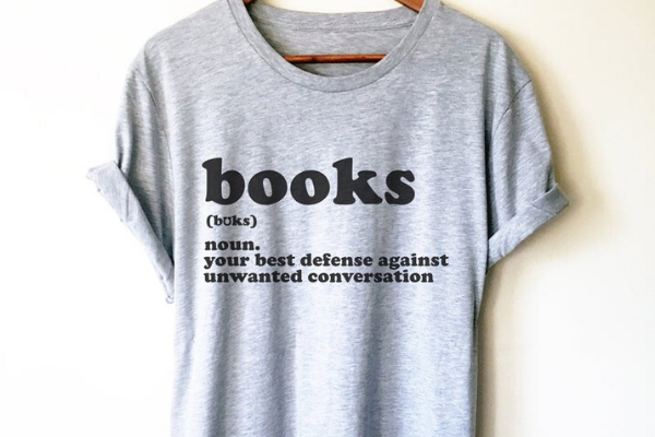 Books Defense Against Unwanted Conversation Shirt from Etsy Finds for Bookish Introverts | bookriot.com