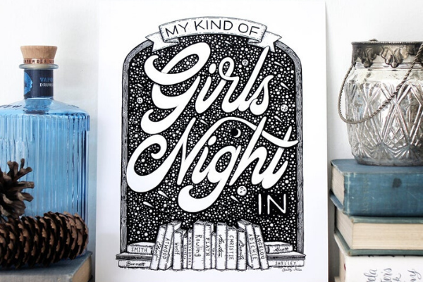 Girls Night In Print from Etsy Finds for Bookish Introverts | bookriot.com