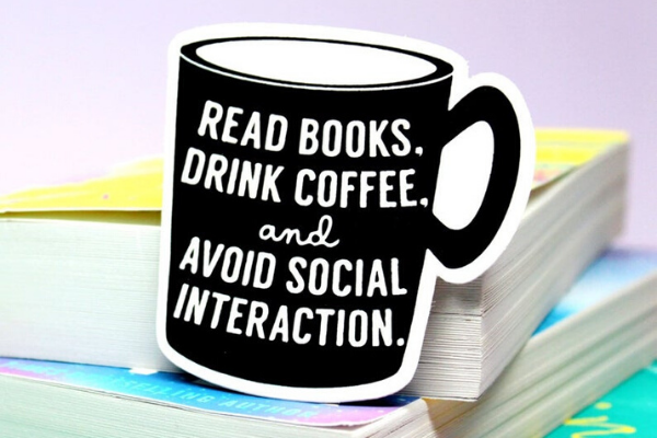 Read Books Avoid Social Interaction Sticker from Etsy Finds for Bookish Introverts | bookriot.com