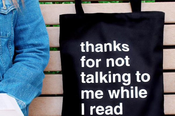 Thanks For Not Talking Tote from Etsy Finds for Bookish Introverts | bookriot.com