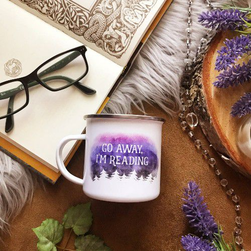 go away I'm reading camping mug by MirkwoodScribes from etsy