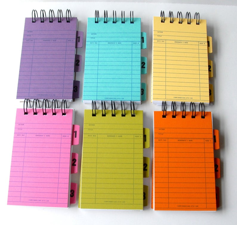 Bright library card spiral notebook