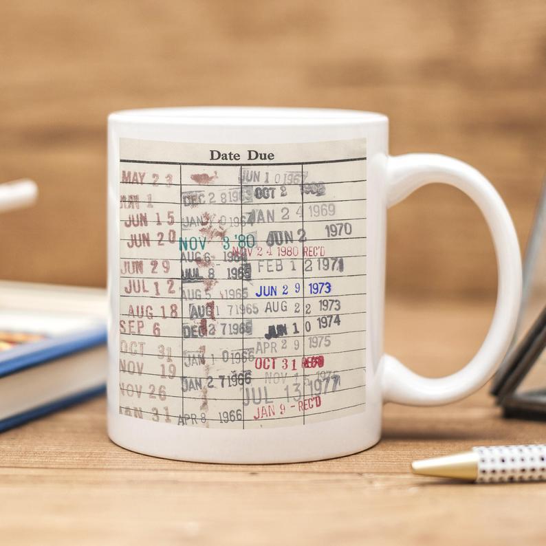 Library due date card mug