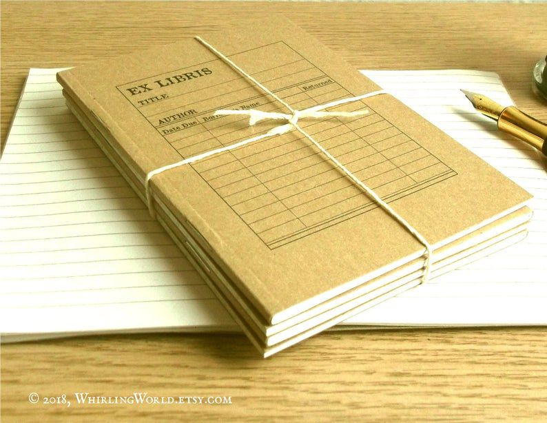 Library card notebooks four pack