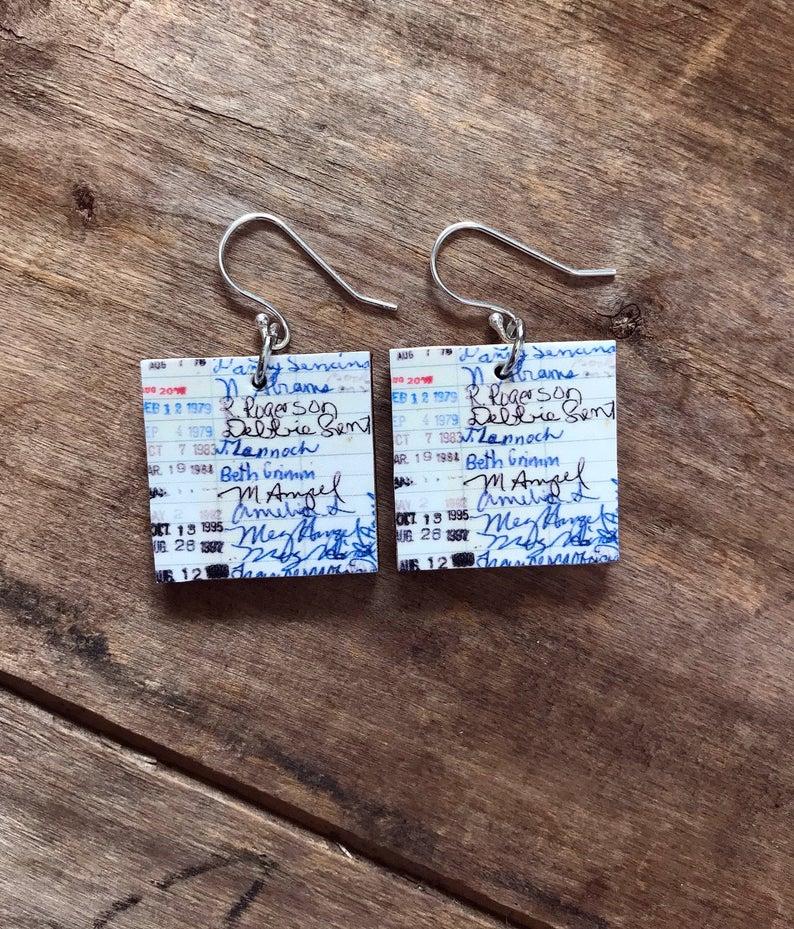 Vintage library card earrings