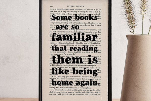 Reading Is Like Being Home Again Typography from All The LITTLE WOMEN Etsy Finds | bookriot.com
