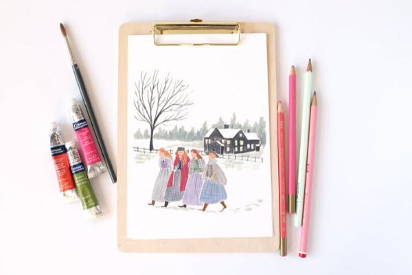 Little Women Illustration from All The LITTLE WOMEN Etsy Finds | bookriot.com
