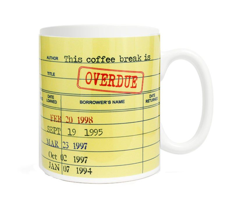 Overdue library coffee mug