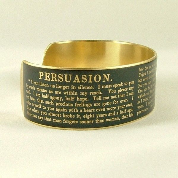 Persuasion cuff bracelet | https://www.etsy.com/listing/153097481/jane-austen-persuasion-jewelry-literary