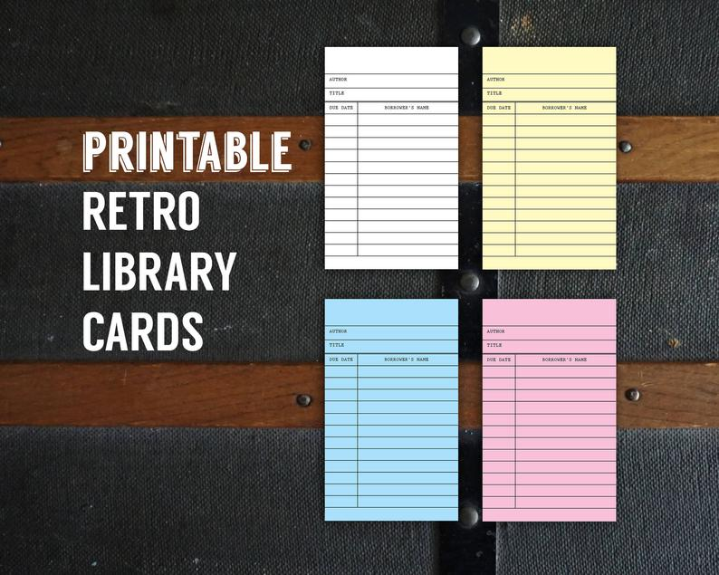 Printable retro library cards