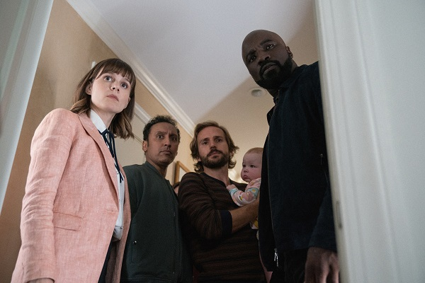 Katja Herbers, Aasif Mandvi, Michael Stahl-David, and Mike Colter in a promotional shot for CBS's Evil | https://www.imdb.com/title/tt9055008/mediaviewer/rm823888129