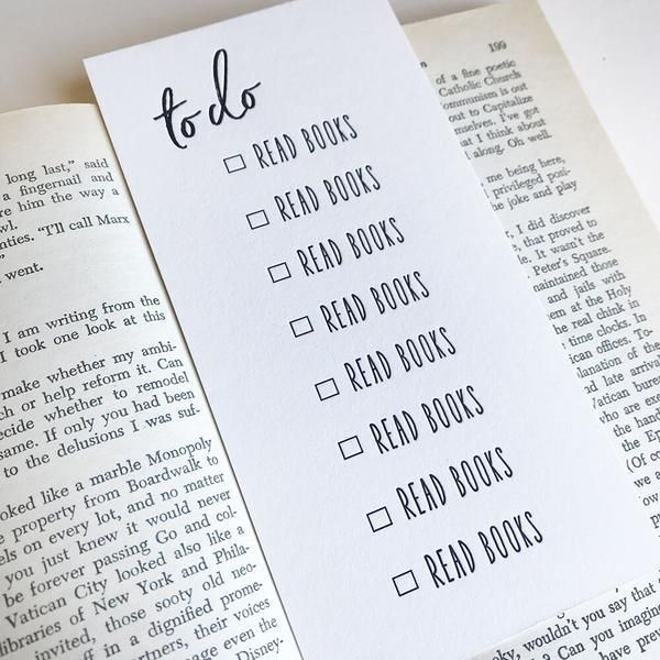 Reading To Do List Bookmark