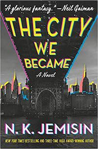 "a 3D-neon version of the NYC skyline with a blurb from Neil Gaiman across the top saying ""A glorious fantasy"""