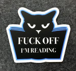 Fuck Off I'm reading Cat Sticker