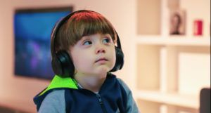 image of a child wearing headphones