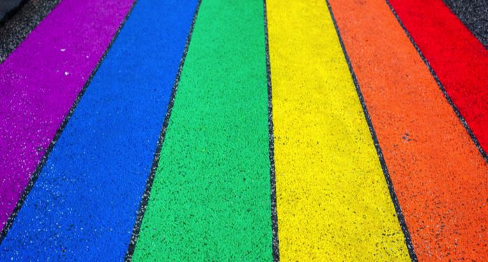 queer lgbtq+ flag street design