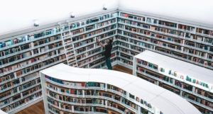 library shelves from above