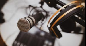 image of a microphone and recording setup