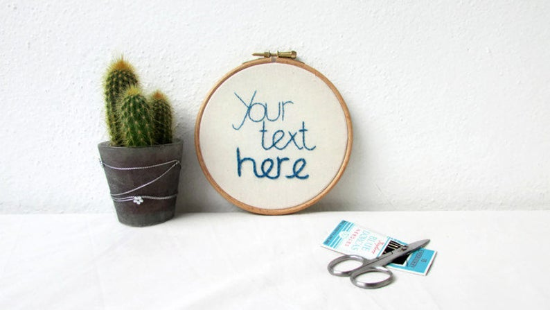 Embroidery Wall Art Book Quote