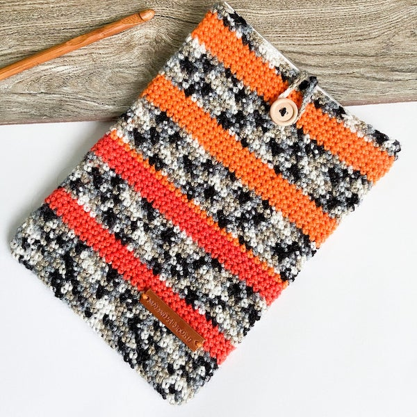 striped crochet book sleeve