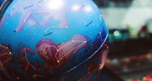 a blue astrology globe