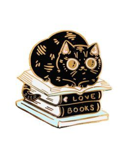 Books Cat Stack Enamel Pin
