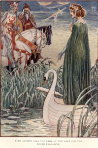 Illustration by Walter Crane, https://commons.wikimedia.org/wiki/File:CRANE_King_Arthur_asks_the_lady_of_the_lake_for_the_sword_Excalibur.jpg