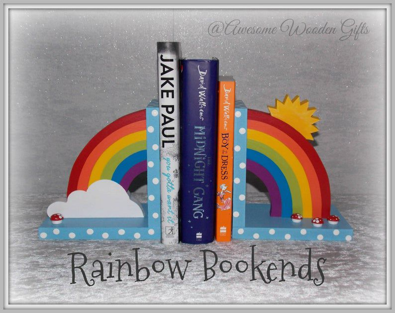 Bright rainbow bookends