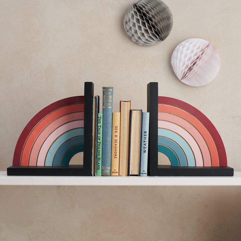 Hand painted rainbow bookends