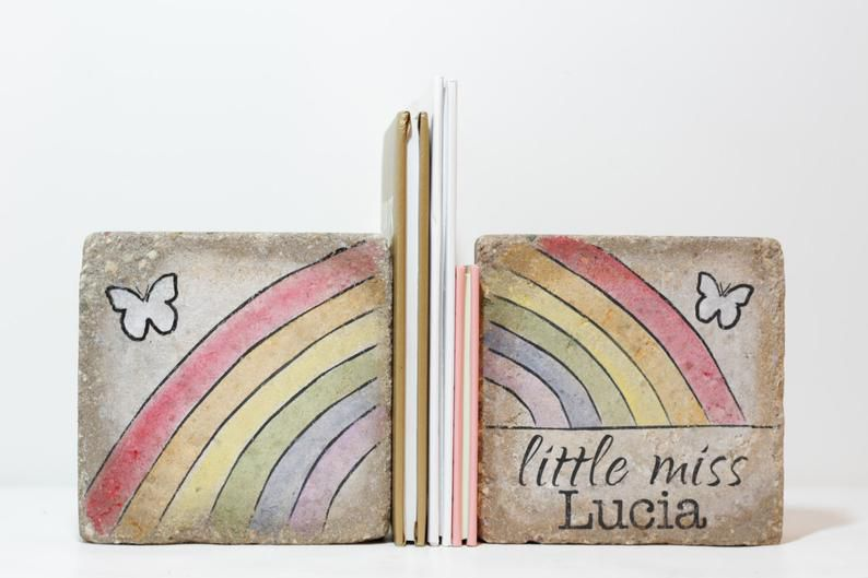 Personalized rustic rainbow bookends