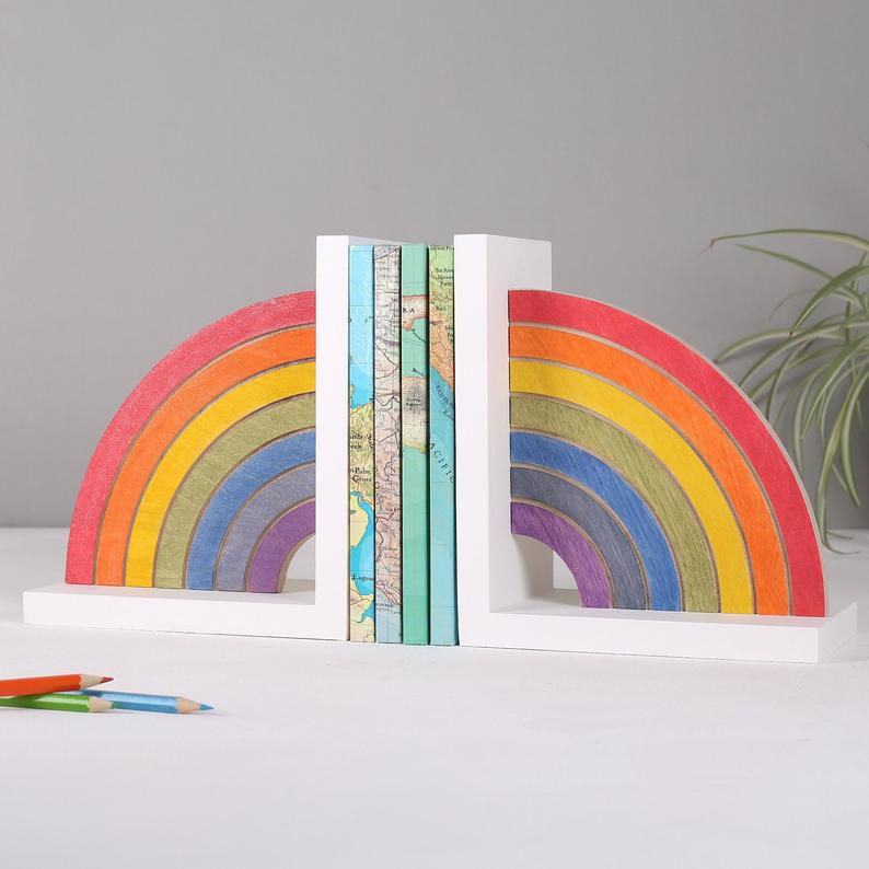Shimmery Wood Rainbow Bookends