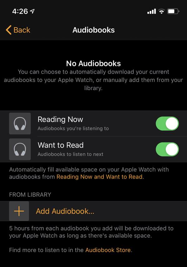 sincronize automaticamente audiolivros entre iphone e apple watch com os ibooks