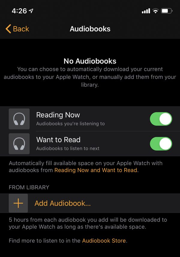 automatically sync audiobooks between iphone and apple watch with ibooks