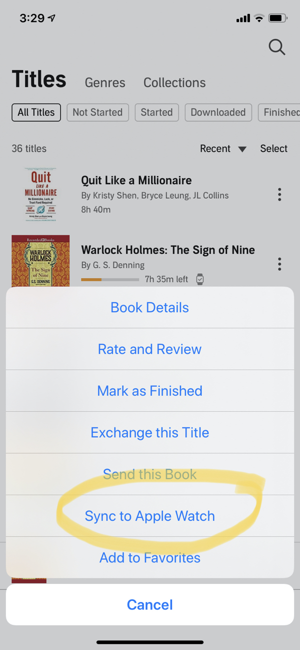sincronização audível de livros com o apple watch