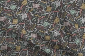 So Many Books Fabric Charcoal