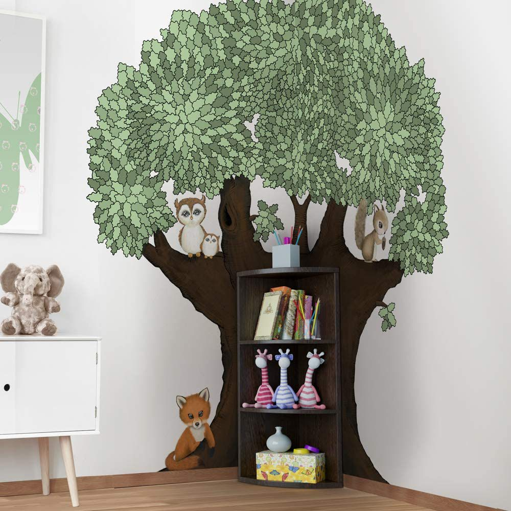 kids bookshelf with tree decal