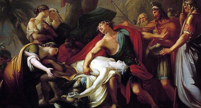 Achilles Lamenting the Death of Patroclus public domain mythology