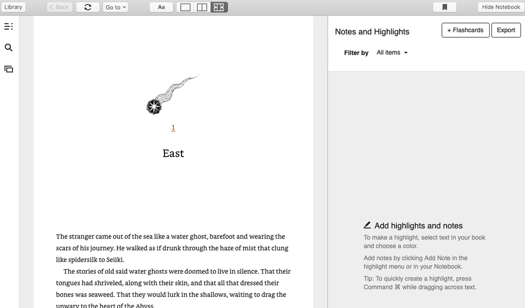 Kindle for Mac Reading