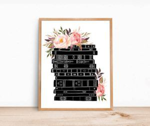 Books and Flowers Print