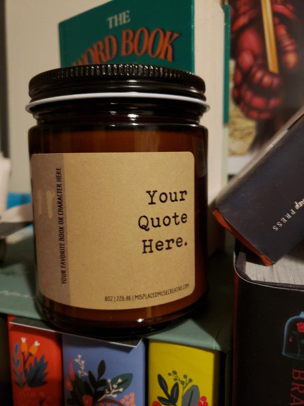 """Glass jar candle with kraft paper label """"your quote here"""""""