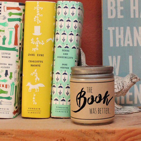 """Jar candle with """"the book was better"""" label for personalized book club gifts"""