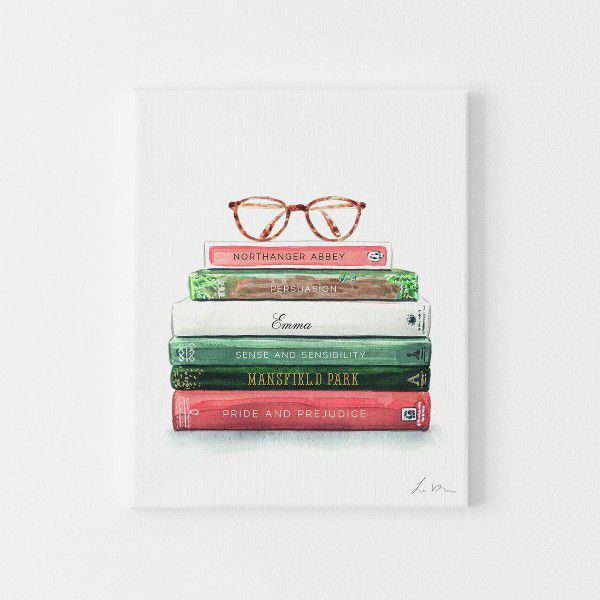 Illustrated stack of Jane Austen books with reading glasses sitting on top