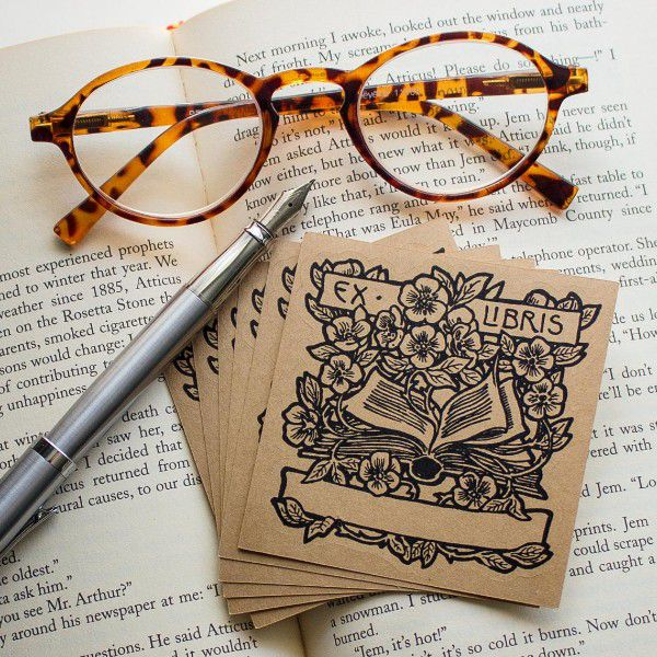 """Brown """"ex libris"""" book plate stickers with open book and flowers imagery"""