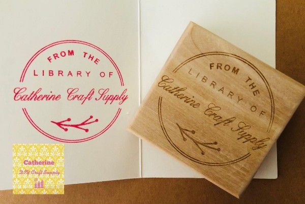 """Wood """"from the library of"""" stamp"""
