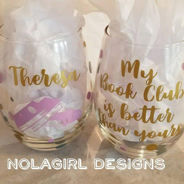"""Stemless wine glass with name and image of books on one side and """"my book club is better than yours"""" on the opposite side"""
