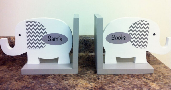 gray and white elephant bookends
