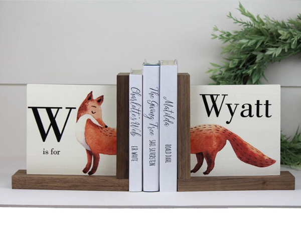 painted fox bookends