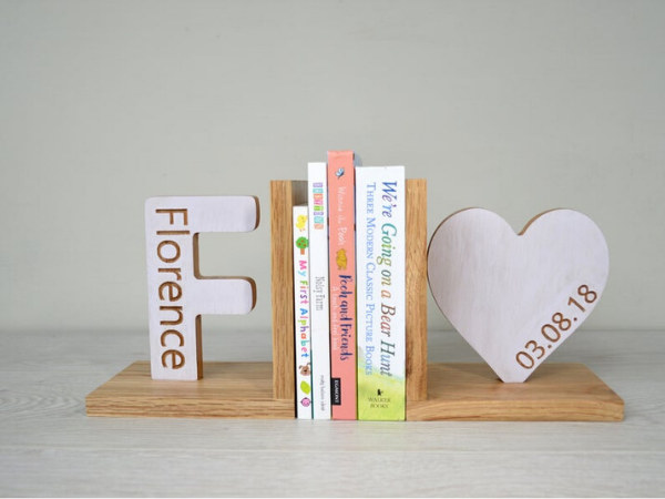 engraved wooden initial and heart bookends