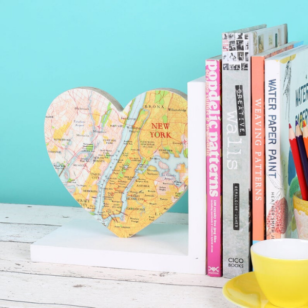 heart-shaped bookend with map of New York