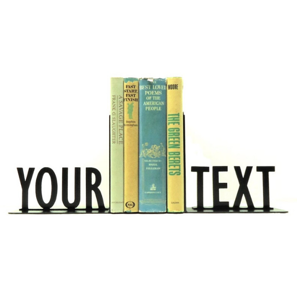 black metal text bookends